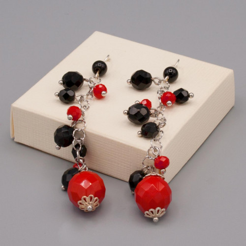 Orecchini con pendenti mezzi cristalli rossi e neri