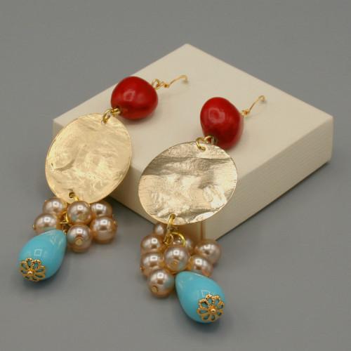Orecchini rosso, oro e turchese