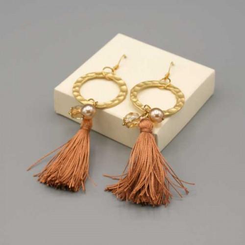 Orecchini con cerchio oro e nappine in pura seta