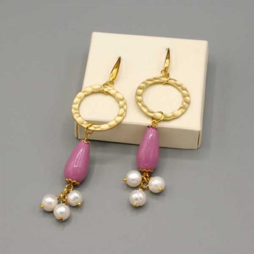 Orecchini con cerchio oro, goccia rosa e perle di fiume