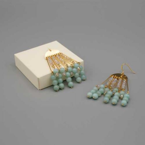 Orecchini con semicerchio dorato e perle di amazzonite