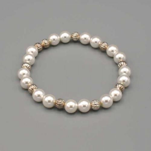 Braccialetto elastico con perle bianche e argento