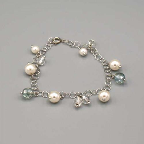 Braccialetto con perle bianche e mezzi cristalli