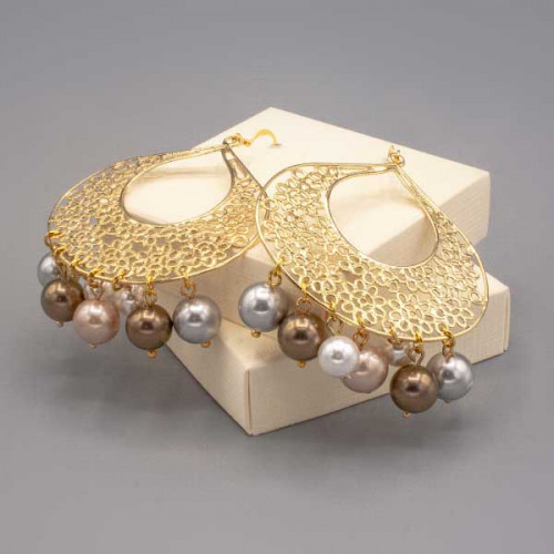 Orecchini con filigrana oro e perle di Majorca
