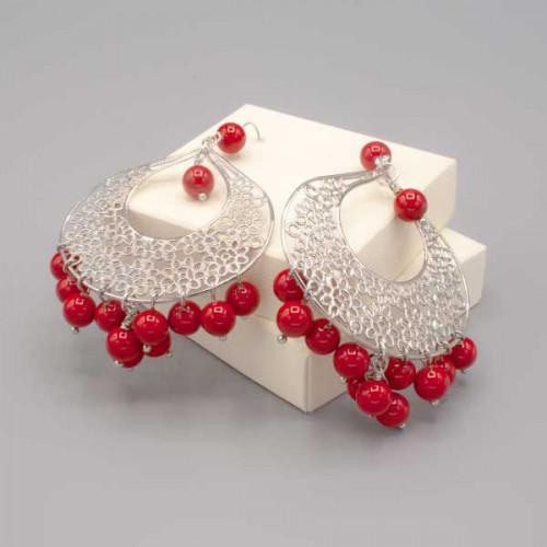 Orecchini goccia argento e perle rosse