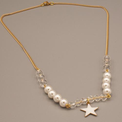 Collana con perle e stella smaltata