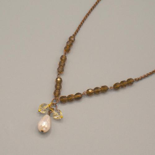 Collana vintage con cristalli color bronzo e goccia avorio