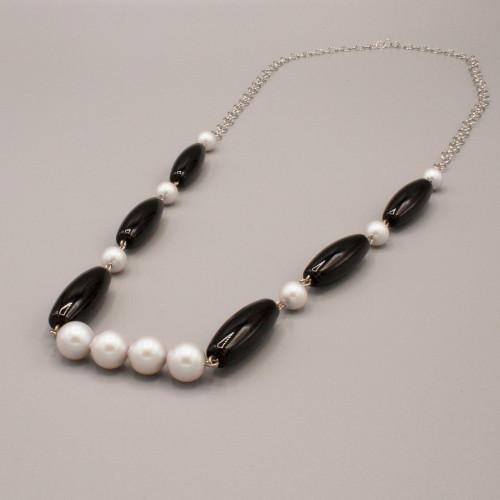 Collana con perle Swarovski e pietre in onice nero