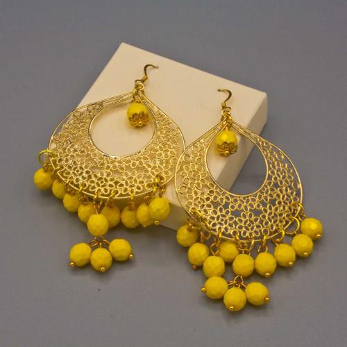 Orecchini con filigrane a goccia e mezzi cristalli color giallo