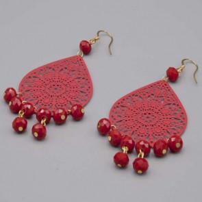Orecchini con filigrana rossa a goccia e mezzi cristalli