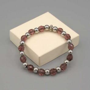 Braccialetto elastico con mezzi cristalli color ametista e acciaio