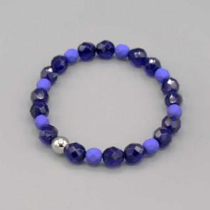 Braccialetto con mezzi cristalli blu in varie sfumature