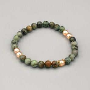 Braccialetto elastico con pietre dure color turchese africano