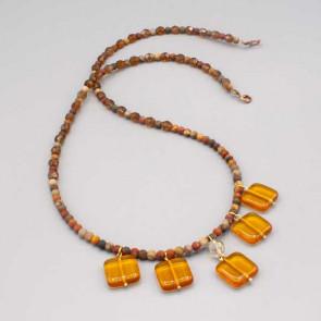 Collana con pietre color topazio e pietre colorate