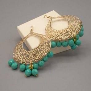 Orecchino con goccia oro e mezzi cristalli verde Tiffany