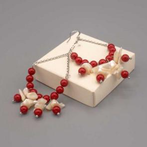 Orecchini a forma di goccia rossa e bianca