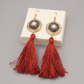 Orecchini con nappine in pura seta ed ovale marcasite strass con perla centrale