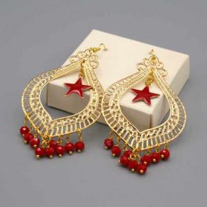 Orecchini con filigrana oro mezzi cristalli rossi e stelline rosse